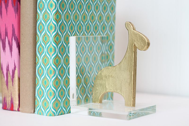 DIY Gold Animal Bookends
