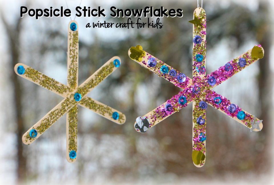 DIY: Popsicle Stick Snowflake Craft