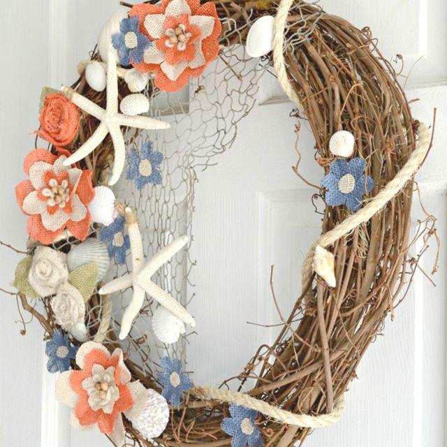 summer flower and starfish wreath