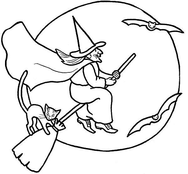 A coloring page of a witch riding on a broomstick