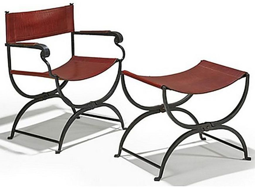 Curule Style Chair and Matching Stool