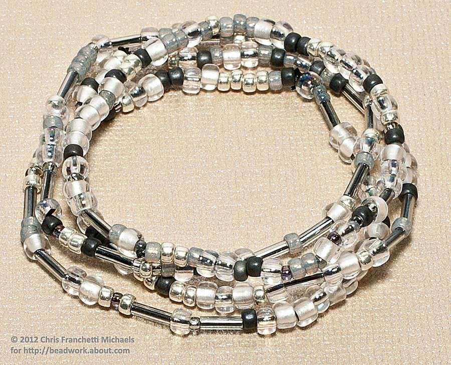 Stack of stretch bead bracelets