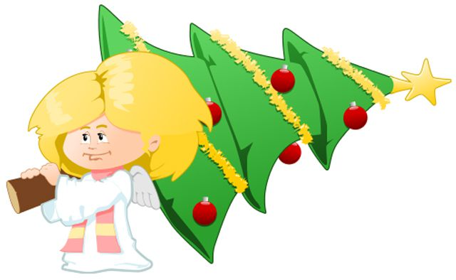 hellas multimedias free christmas clip art an angel carrying a christmas tree - Free Christmas Images Clip Art
