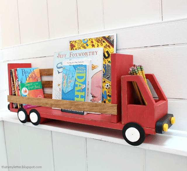 Picture of a red truck shelf holding books
