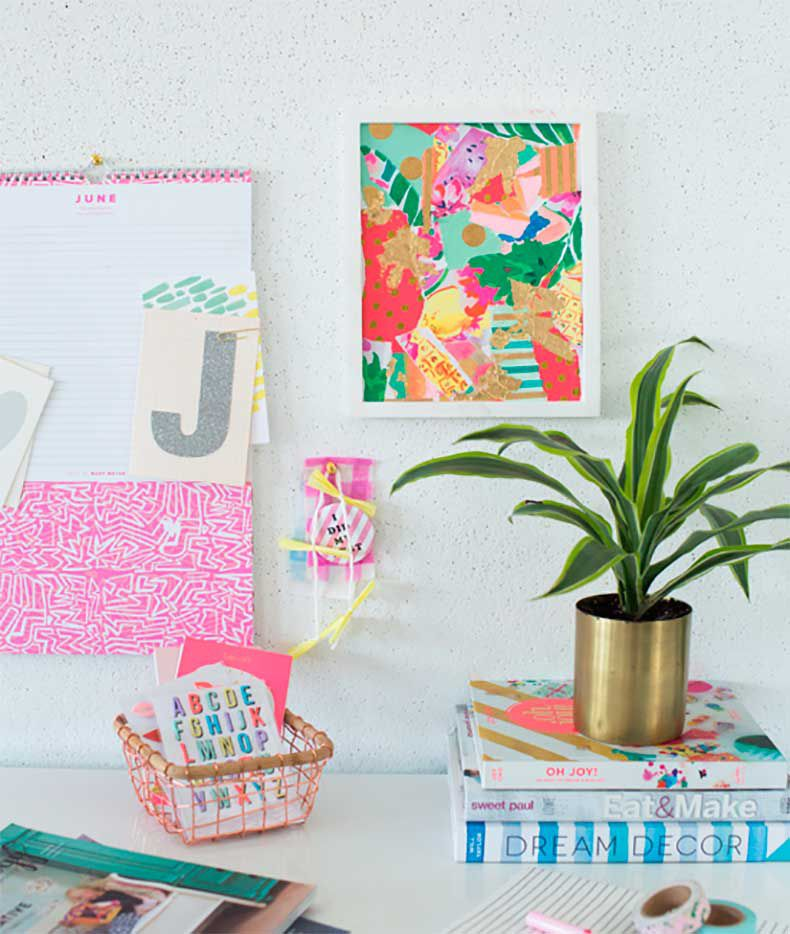 diy wrapping paper collage wall art