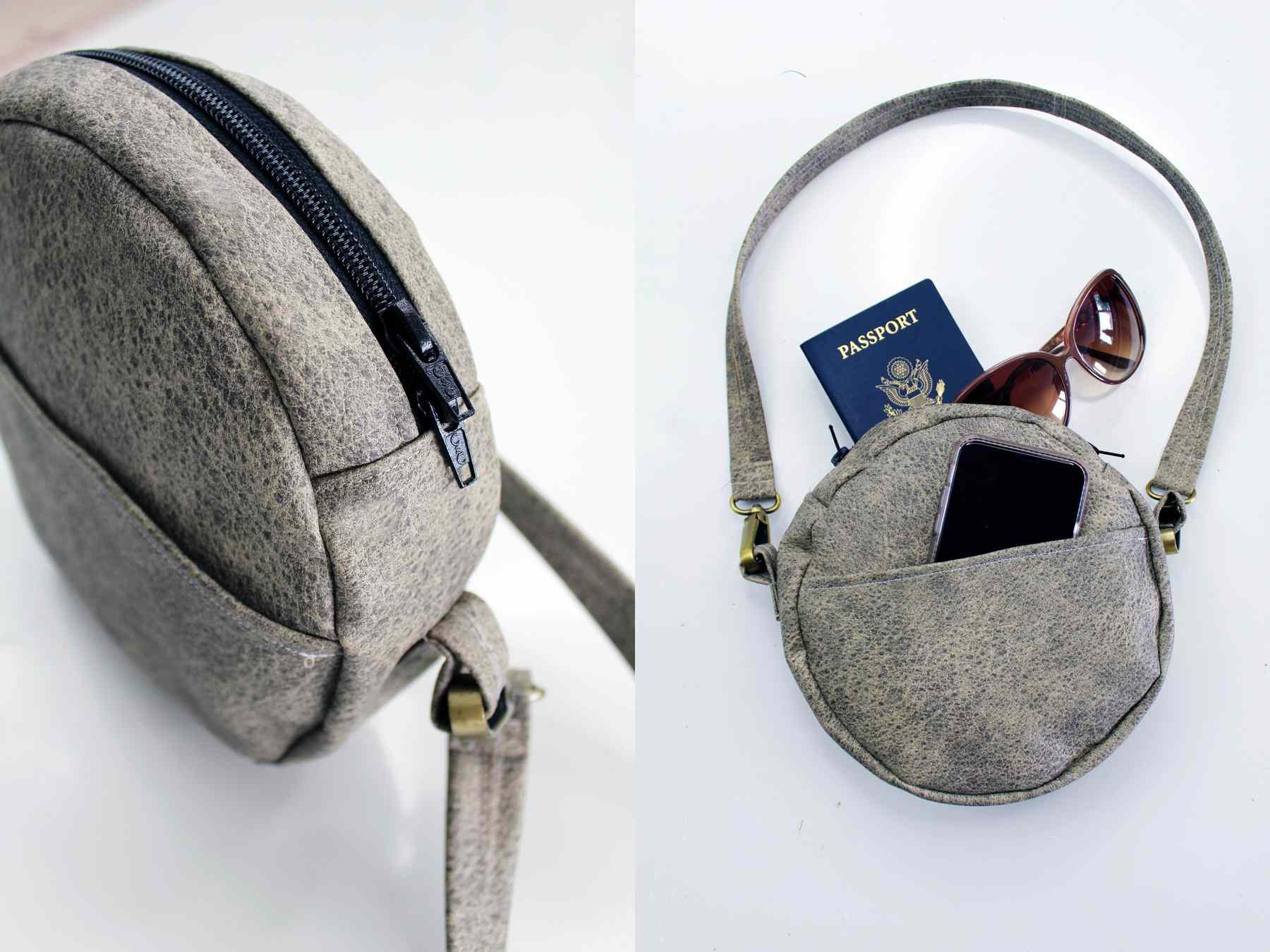 DIY Leather Circle Purse With Side Pocket