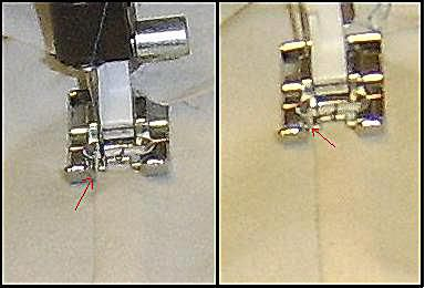 A photo showing options using needle position and presser foot guides