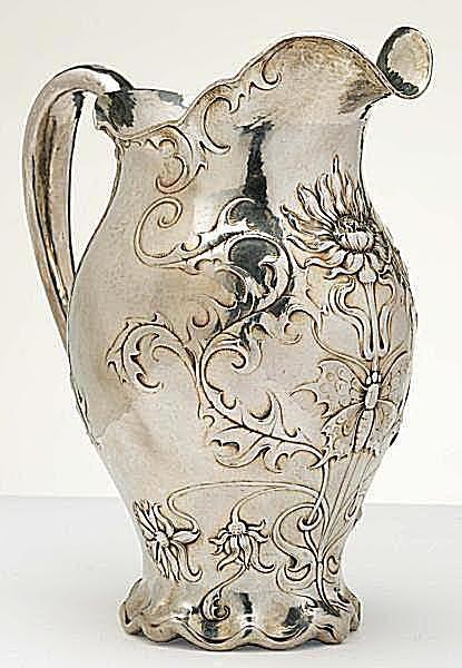 Gorham Silver Martelé Art Nouveau Water Pitcher