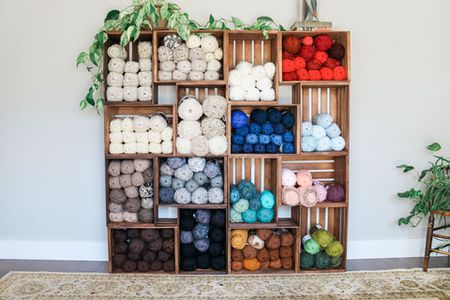 Stack Wooden Crates To Create Yarn Storage Cabinets