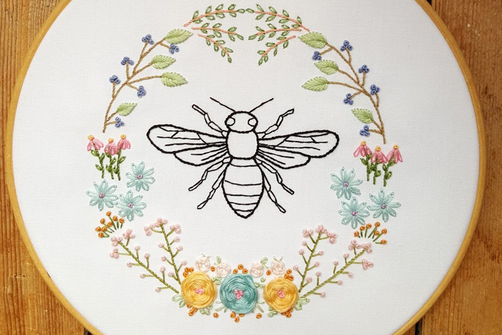 5 Bee and Honeycomb Themed Embroidery Patterns