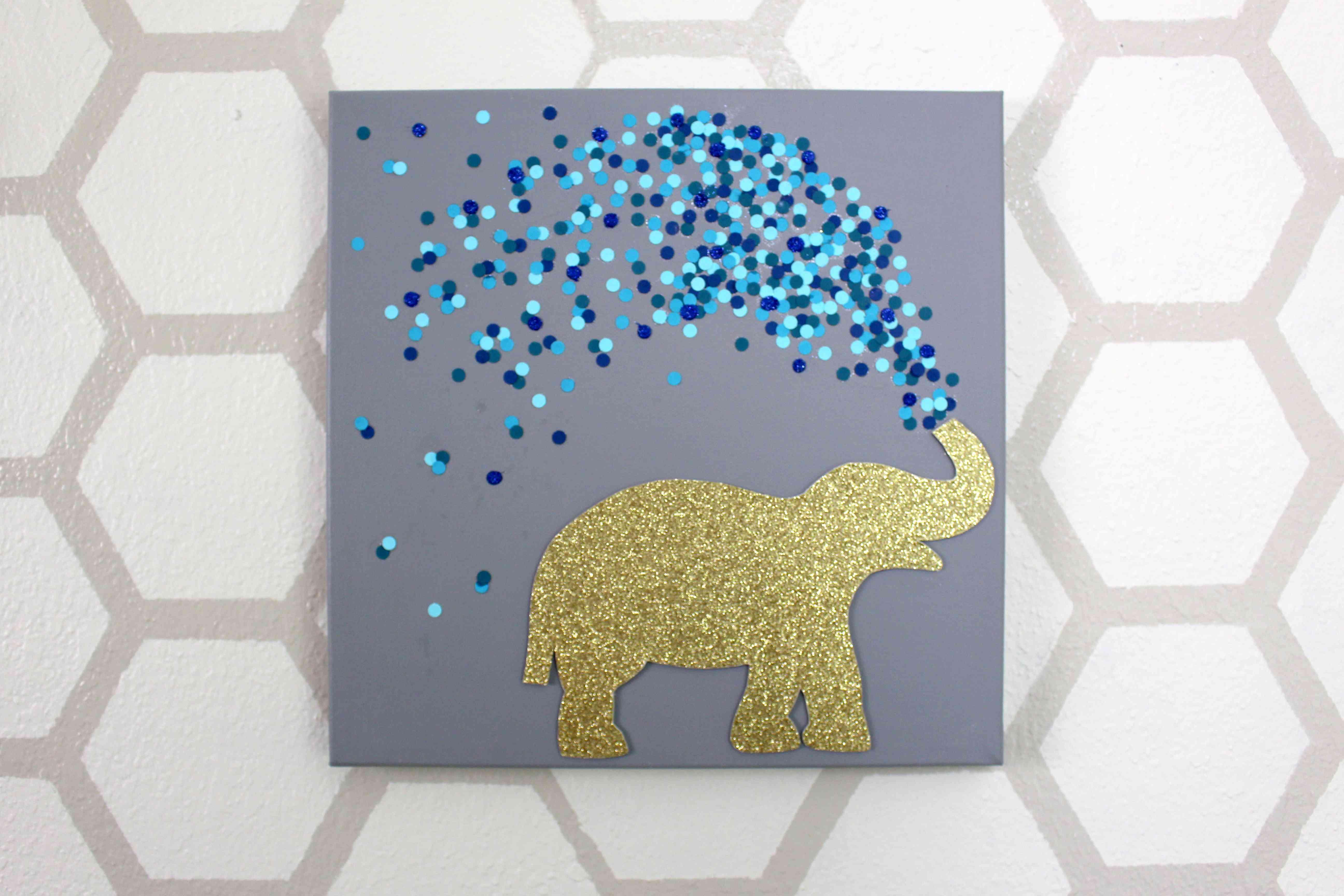 Cute glitter elephant wall art