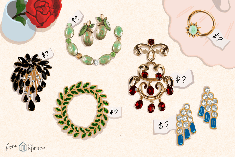 Illustration of vintage costume jewelry