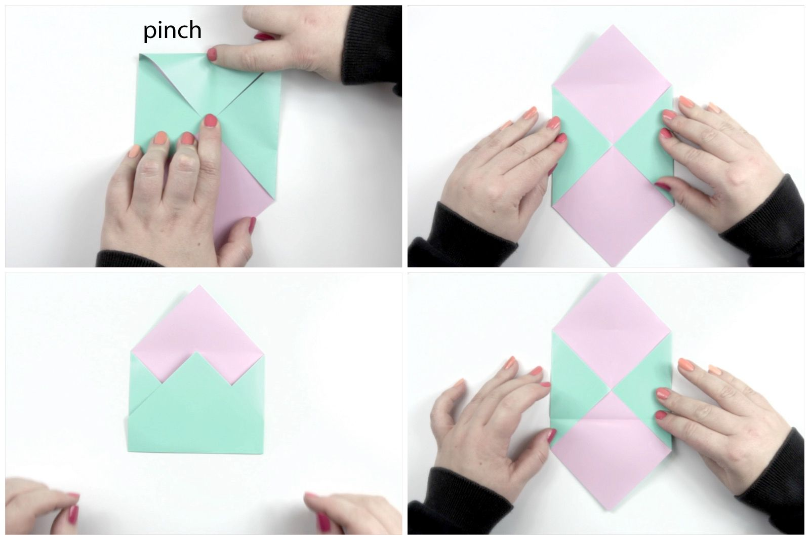 Folding an origami paper envelope