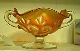 Dugan Carnival Glass Question Marks Marigold Footed Bon-Bon Dish