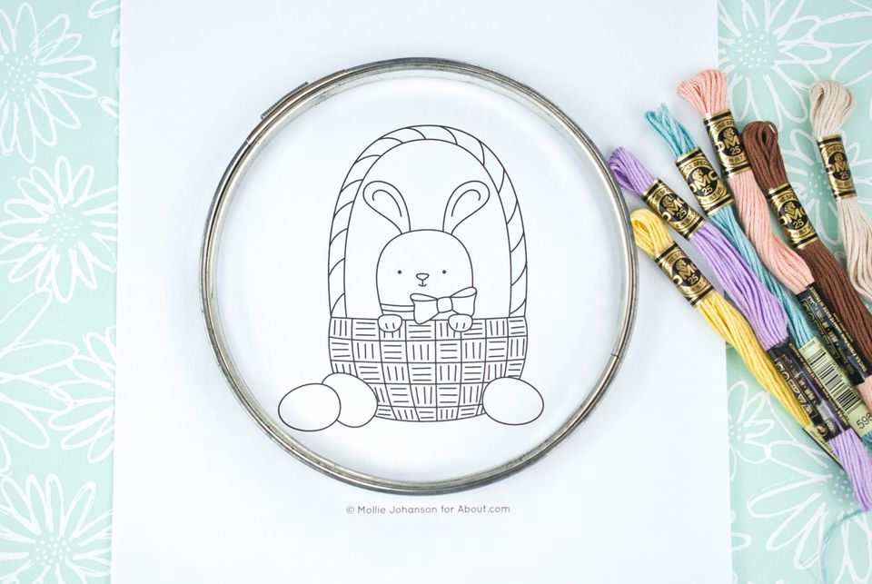 Easter Bunny Basket Embroidery Pattern