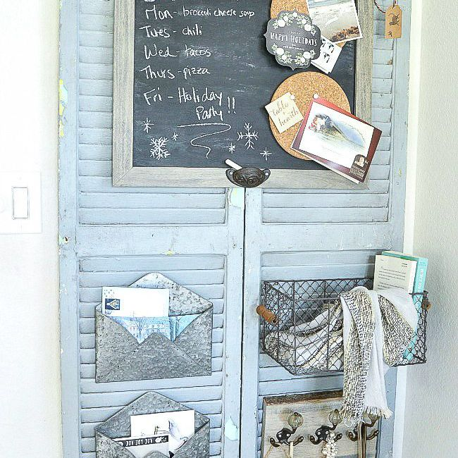 A blue window shutter wall organizer