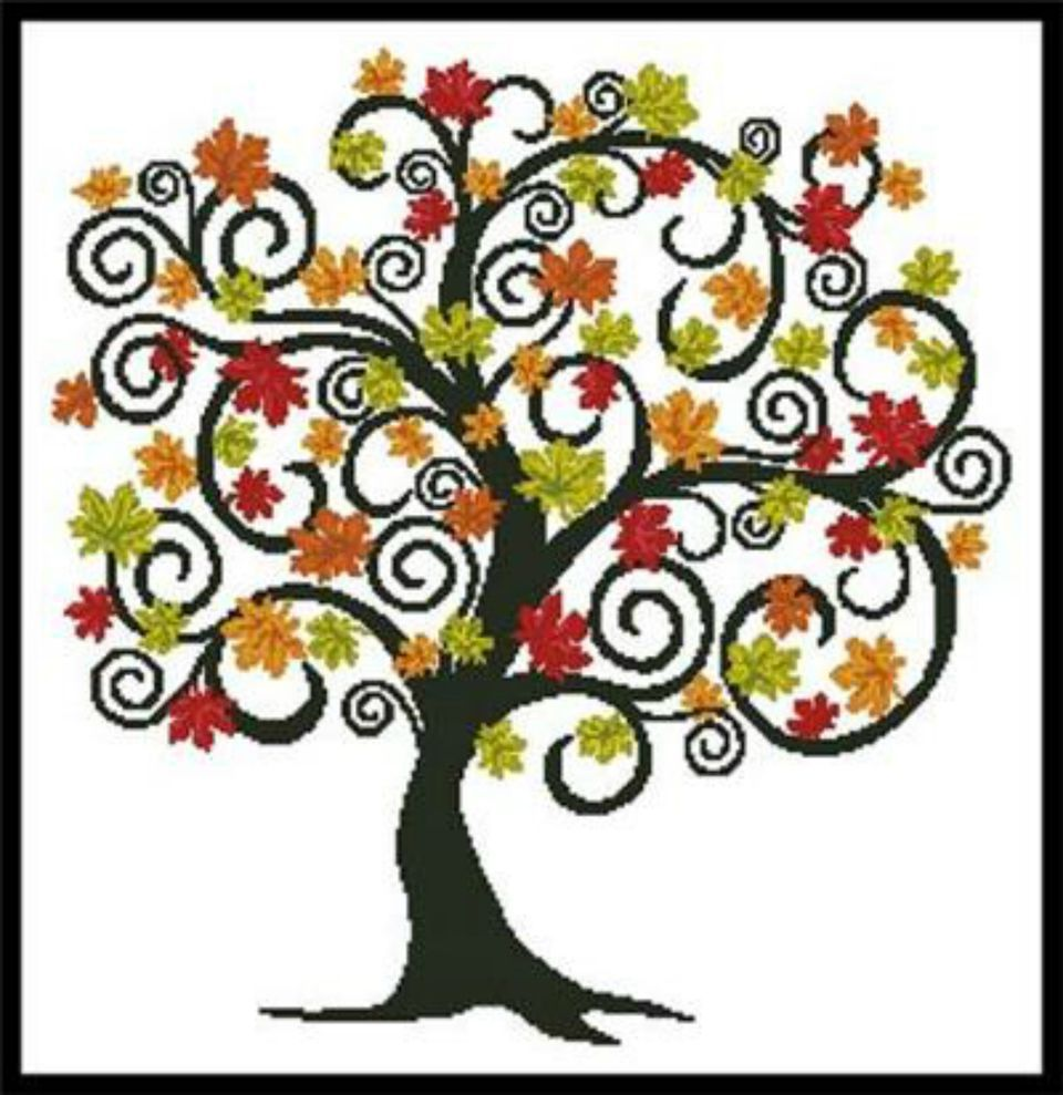 Cross stitch autumn tree