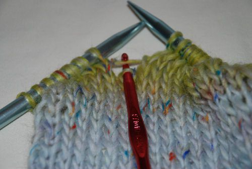 Continuing to pick up the stitch.