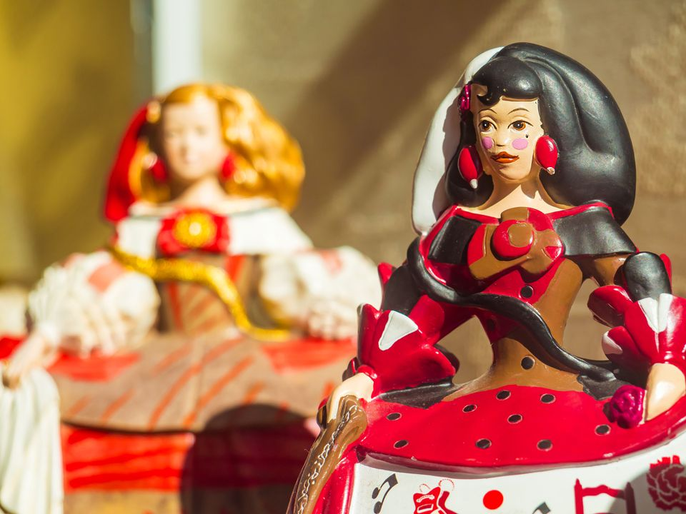 Close up of antique dolls