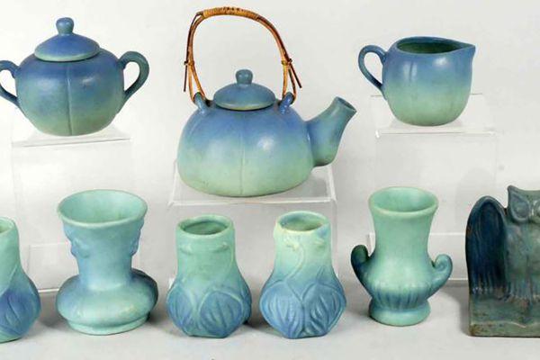 Lot of vintage blue Van Briggle pottery.