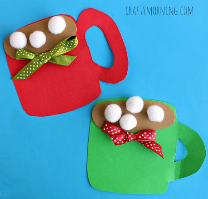 Pom pom hot cocoa paper craft