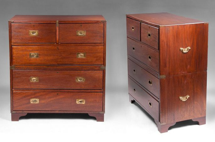 Pair of Early 20th-century English Double Stacked Chests with Ogee Bracket Feet
