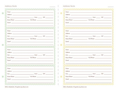 printable address pages for your planner