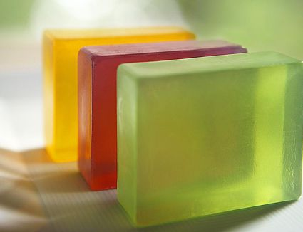 3 soaps made of glycerine, close up
