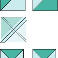 Illustrated design of how to cut quarter-square triangle units.