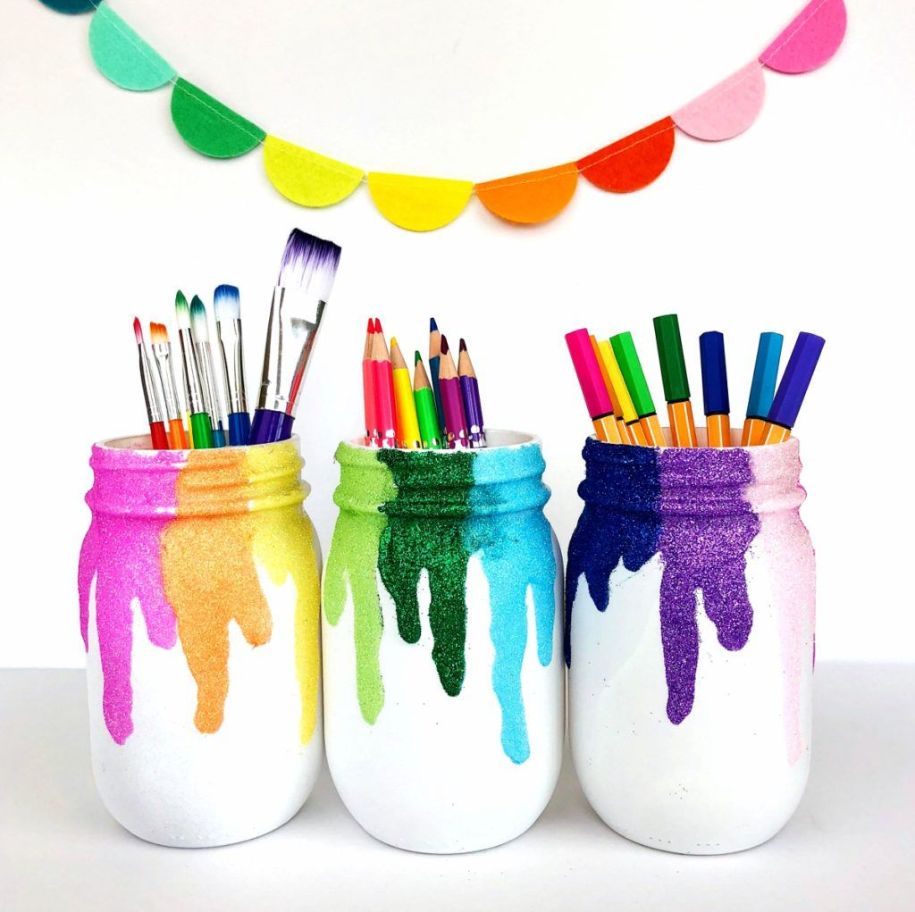 Rainbow Glitter Mason Jars