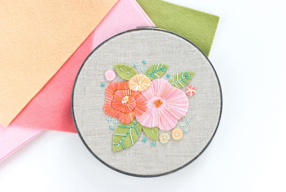 Embroidered Felt Flowers