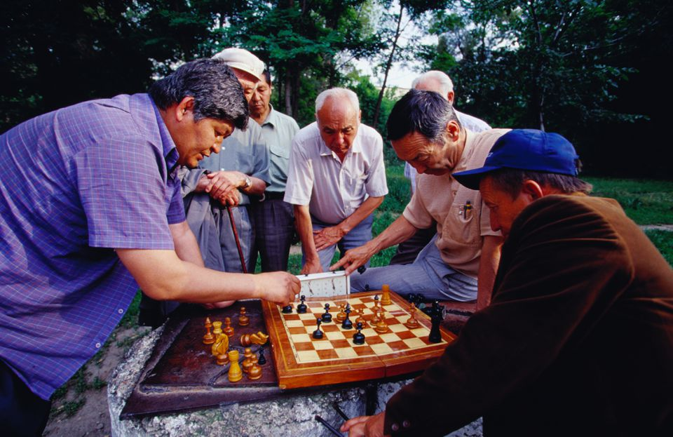 Chess players at Panfilov Park.