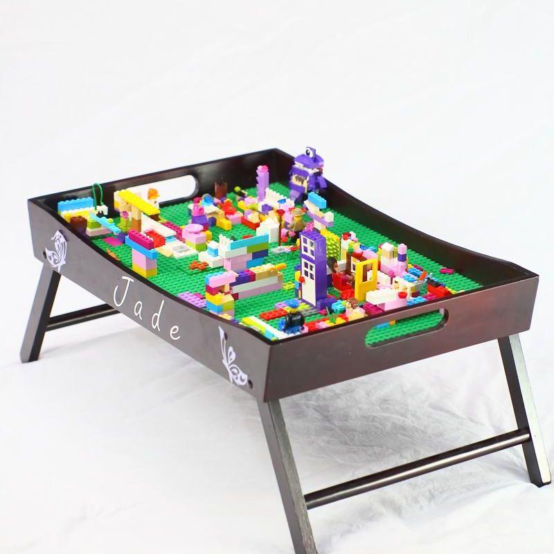 A tray table made into a Lego table