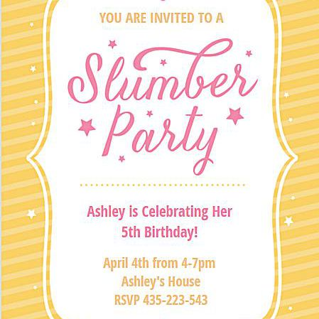 A Yellow And Pink Slumber Party Invite