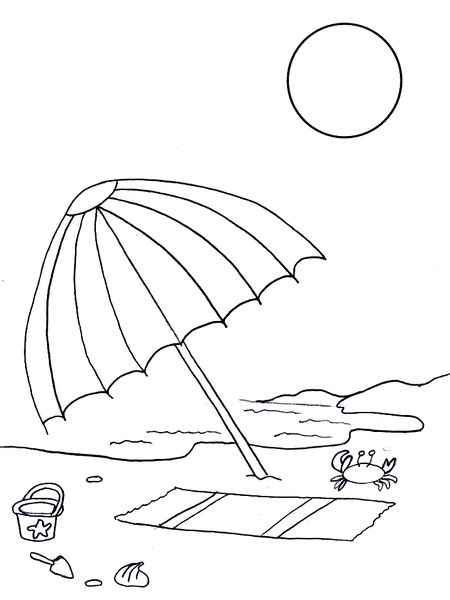 Free Summer Coloring Pages At Coloringws A Beach Umbrella Towel And Toys