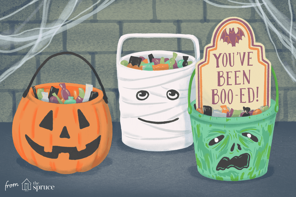 Three Halloween candy buckets