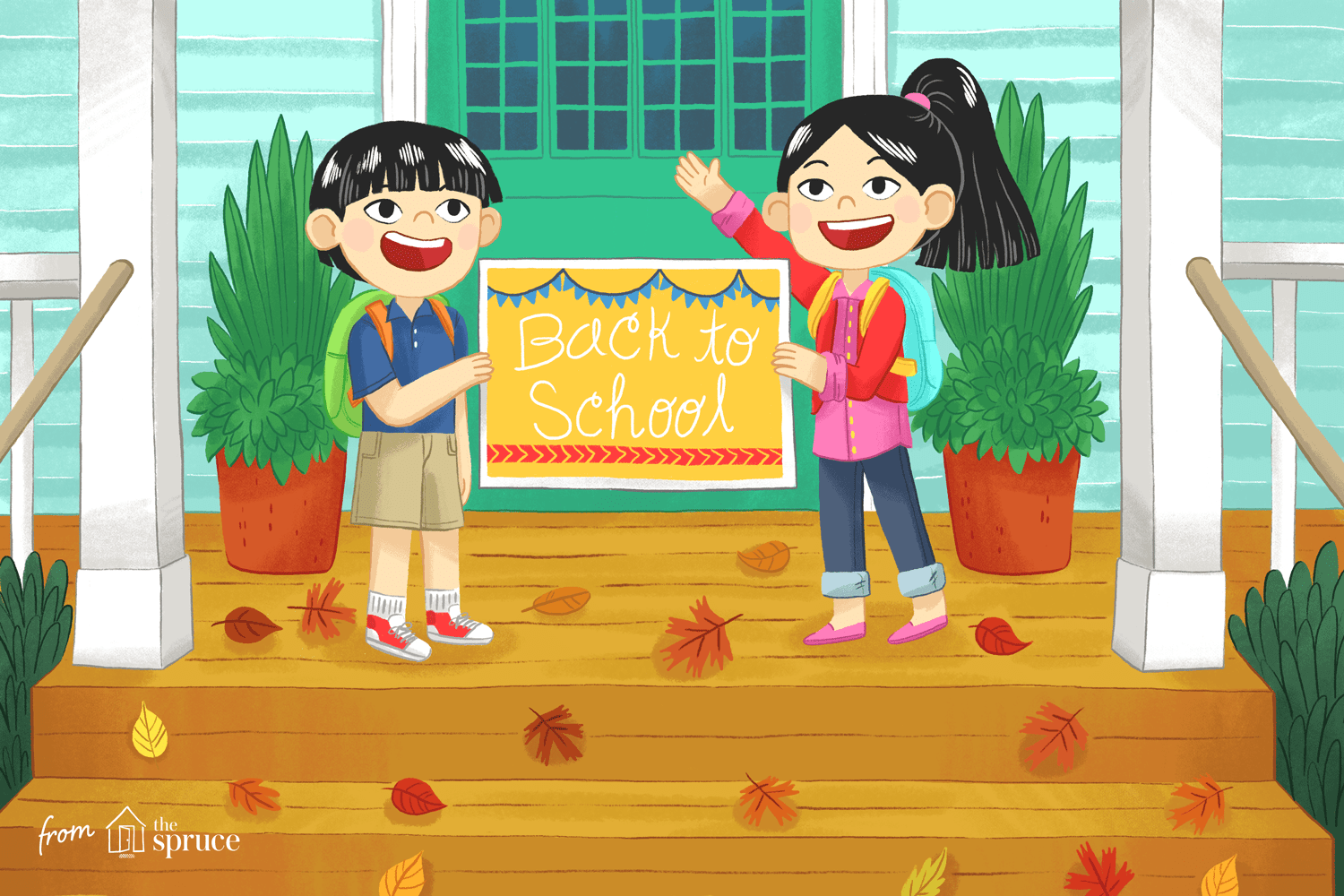Illustration of two kids holding back to school sign