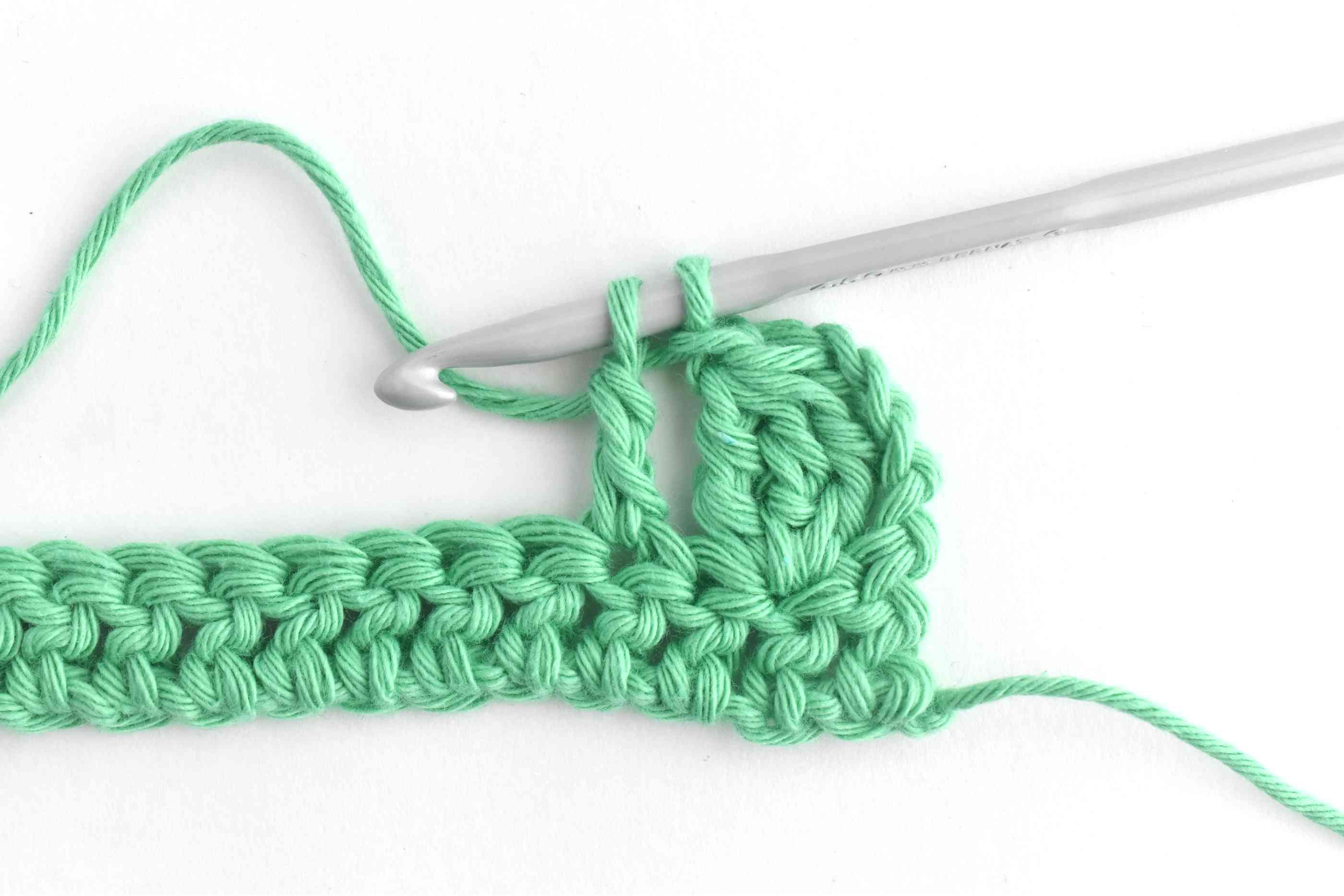 Chain 1 and Skip a Stitch and Start the Next Cluster