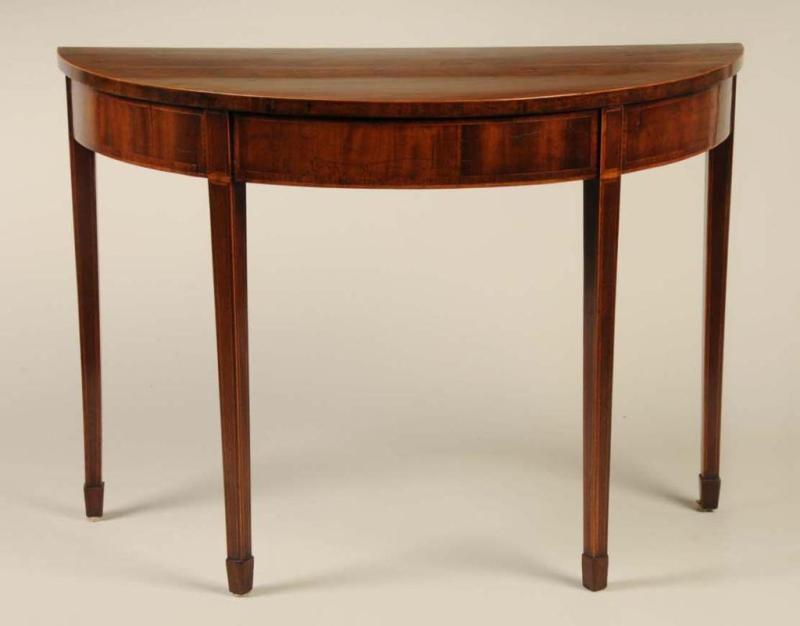 A Hepplewhite demilune mahogany table from Virginia, ca. 1790-1800