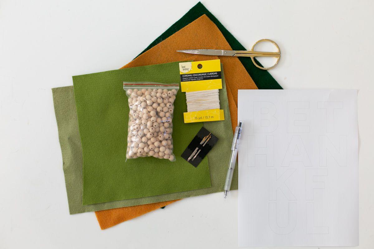 Materials for DIY felt Thanksgiving garland