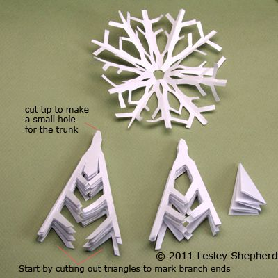 Make Simple Winter Trees From Cut Paper Snowflakes Magnificent Snowflake Cutting Patterns