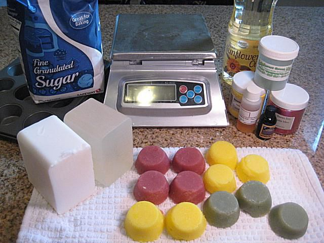 Sugar scrub cubes and materials