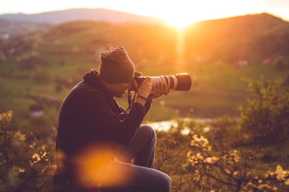 Hiker taking photos
