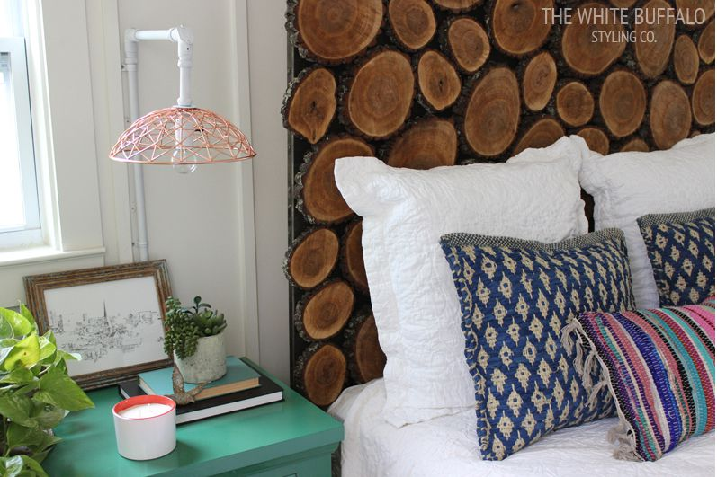 A headboard made of wood slices