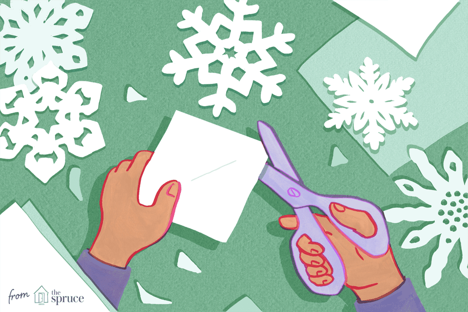 Illustration of hands cutting paper snowflakes