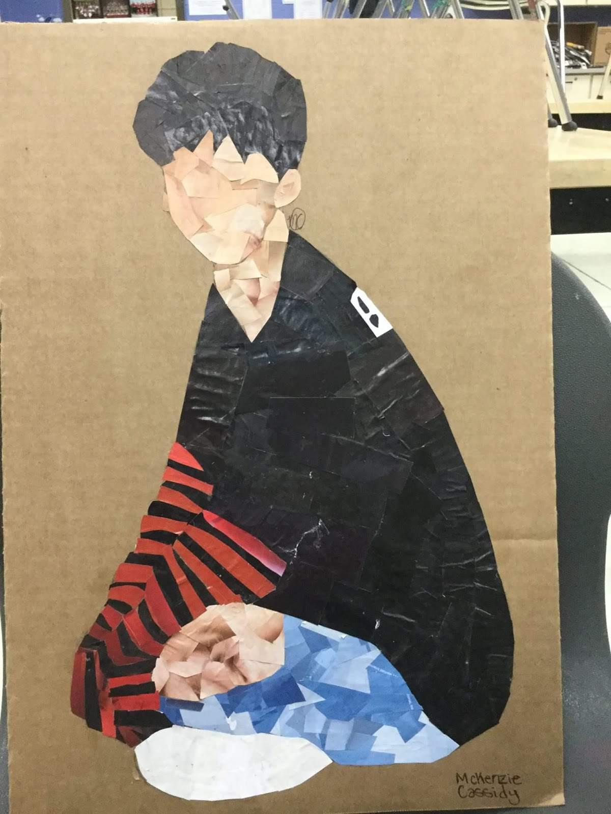 Boy sitting collage on cardboard.