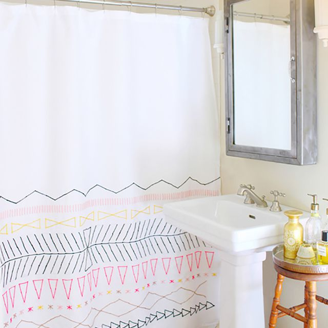 embroidered colorful diy shower curtain