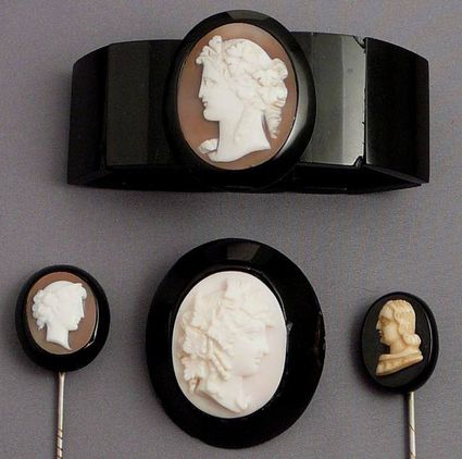 Victorian jet cameo jewelry