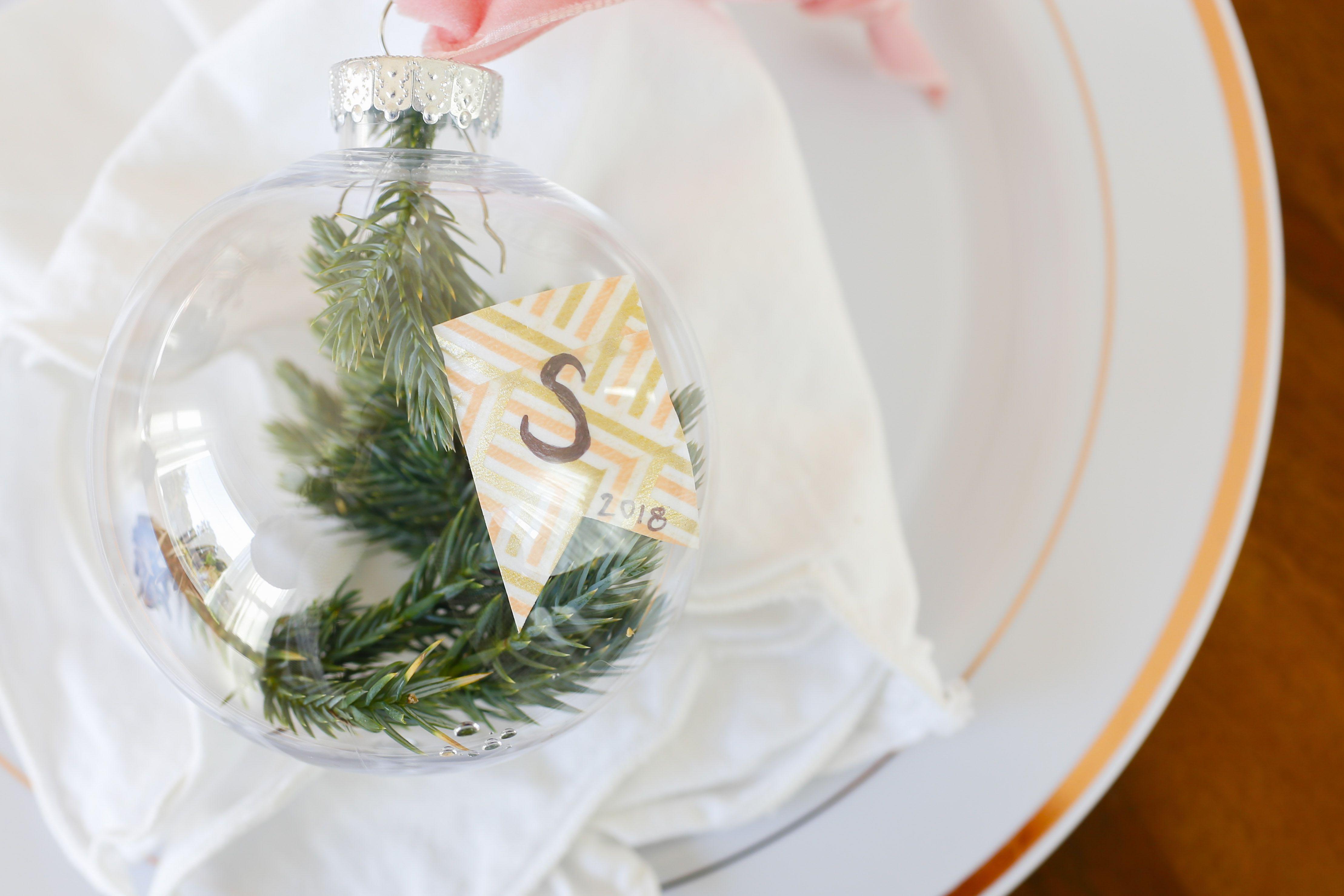 DIY Christmas Ornament Place Cards
