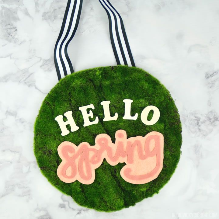 DIY Moss Covered Hello Spring Wreath